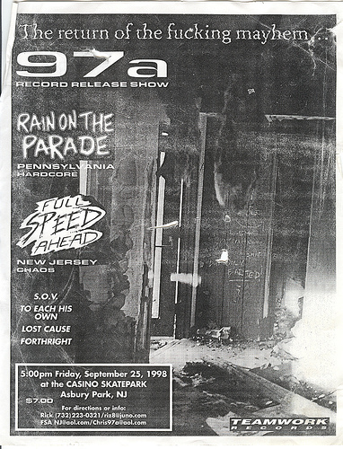 97a-Full Speed Ahead-Rain On The Parade-SOV-To Each His Own-Lost Cause-Forthright @ Casino Skate Park Asbury Park NJ 9-25-98