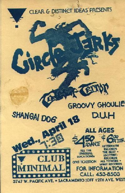 Circle Jerks-Etc @ Club Minimal Sacramento CA 4-18-84