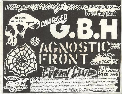 Agnostic Front-G.B.H. @ The Cuban Club Tampa FL 6-20-86