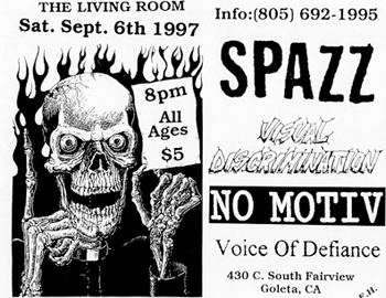 Spazz-Visual Discrimination-No Motiv-Voice Of Defiance @ The Living Room Goleta CA 9-6-97