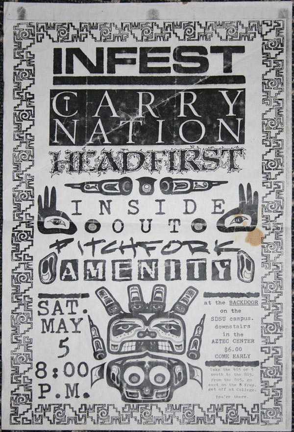 Infest-Carry Nation-Inside Out-Head First-Pitchfork @ The Backdoor San Diego CA 5-5-89