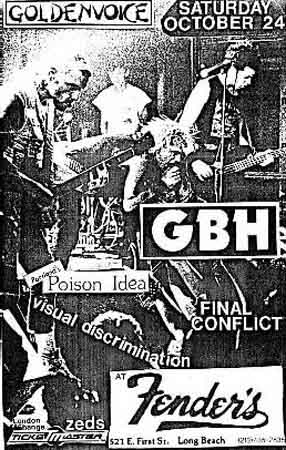 Final Conflict-Charged GBH-Poison Idea-Visual Discrimination @ Fender's Long Beach CA 10-24-87