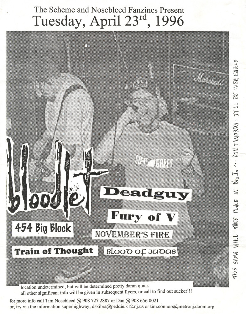 Bloodlet-Fury Of V-Deadguy-454 Big Block-November's Fire-Train Of Thought-Blood Of Judas @ New Jersey 4-23-96