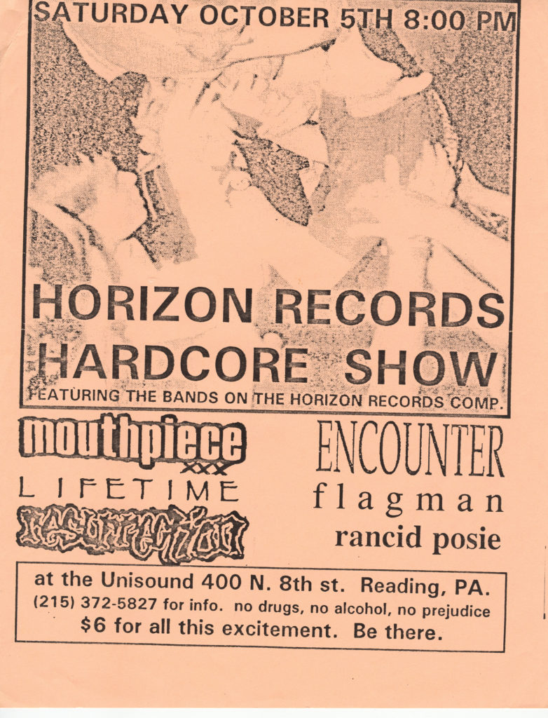 Mouthpiece-Lifetime-Ressurection-Encounter-Flagman-Rancid Posie @ Unisound Reading PA 10-5-91