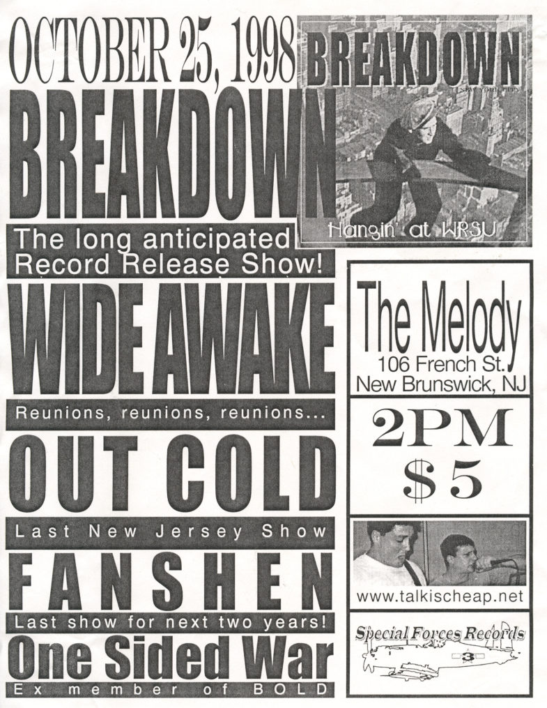Breakdown-Out Cold-One Sided War-Fanshen @ The Melody Bar New Brunswick NJ 10-25-98