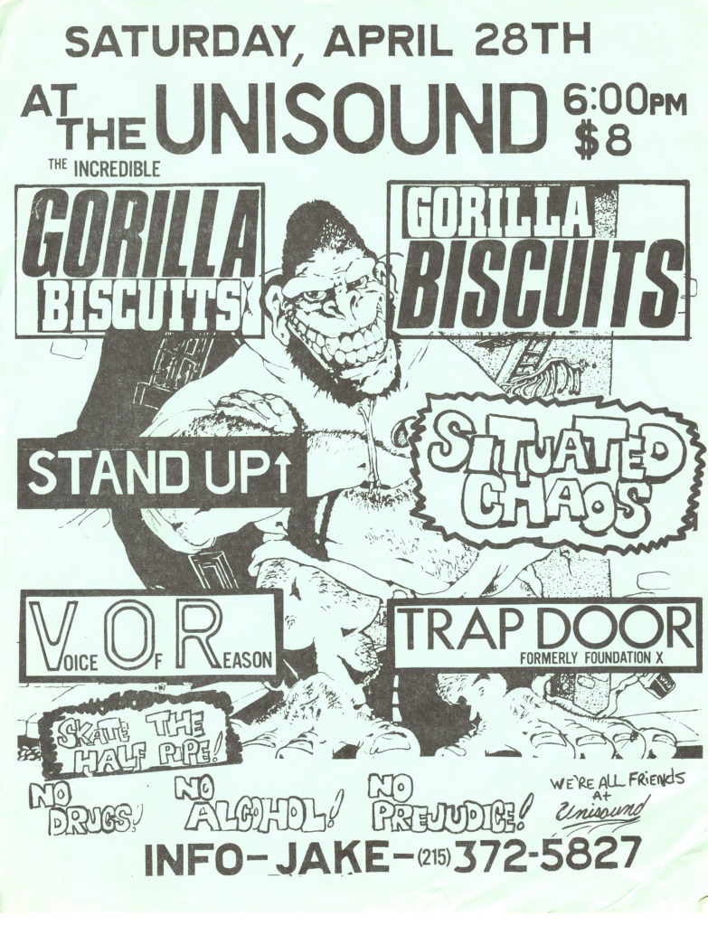 Gorilla Biscuits-Situated Chaos-Stand Up-Trap Door-Voice Of Reason @ Unisound Reading PA 4-28-90