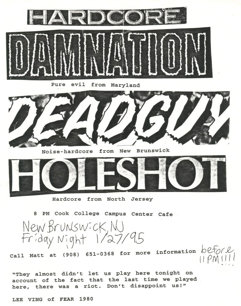 Deadguy-Holeshot-Damnation A.D. @ Cook College New Brunswick NJ 1-27-95