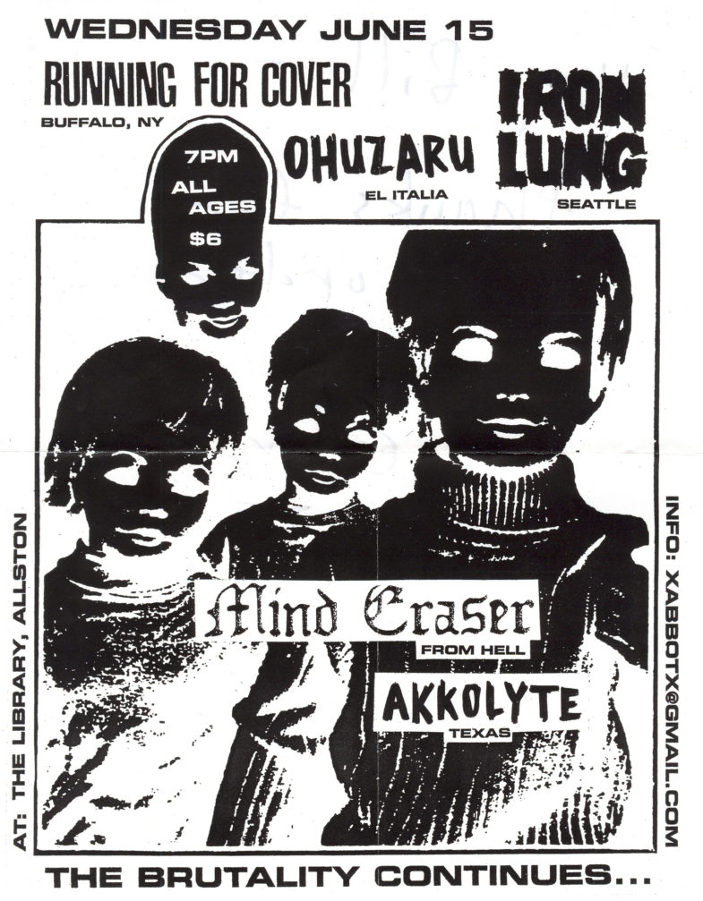 Running For Cover-Iron Lung-Ohuzaru-Mind Eraser-Akkolyte @ The Library Allston MA 6-15-05