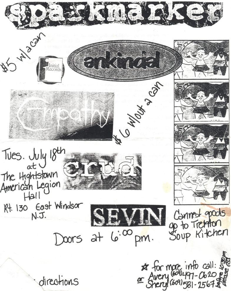 Crud Is A Cult-Sparkmarker-The Enkindels-Empathy-Sevin @ Hightstown American Legion Hall East Windsor NJ 7-18-95
