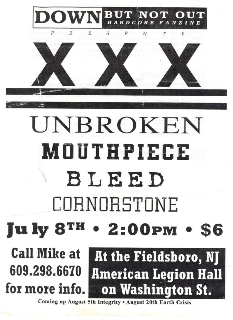 Unbroken-Bleed-Mouthpiece-Cornerstone @ Fieldsboro American Legion Hall Fieldsboro NJ 7-8-95