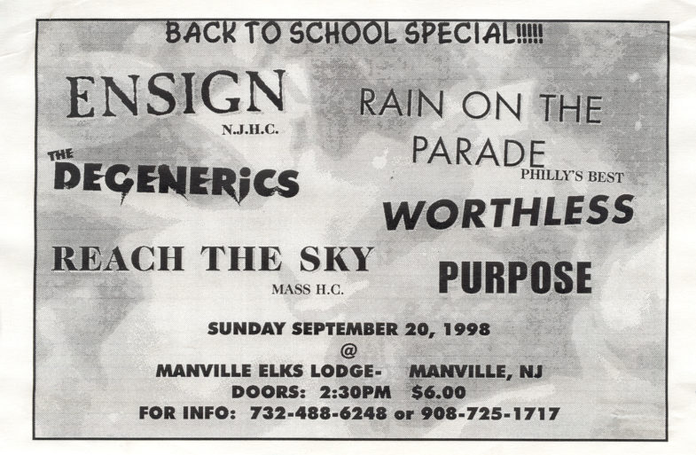 Ensign-The Degenerics-Rain On The Parade-Etc @ Manville Elks Lodge Manville NJ 9-20-98