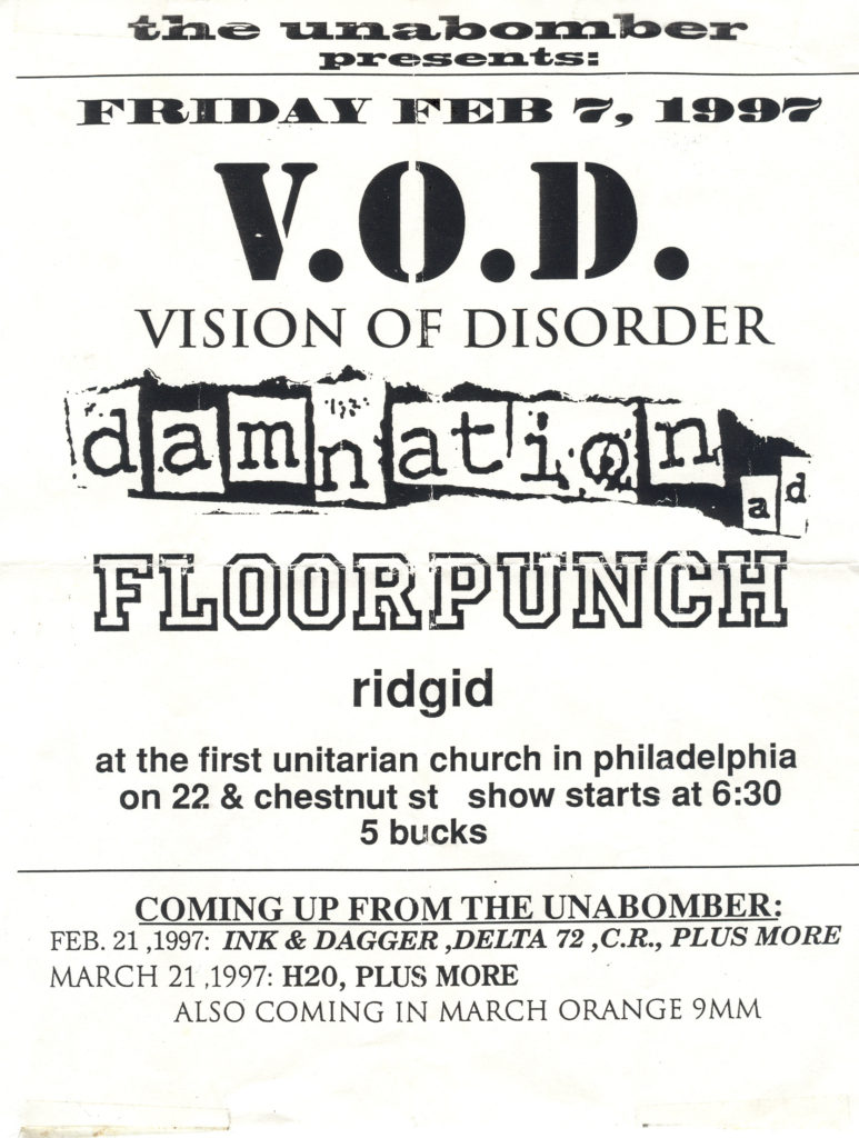 Vision Of Disorder-Floorpunch-Damnation AD-Ridgid @ First Unitarian Church Philadelphia PA 2-7-97