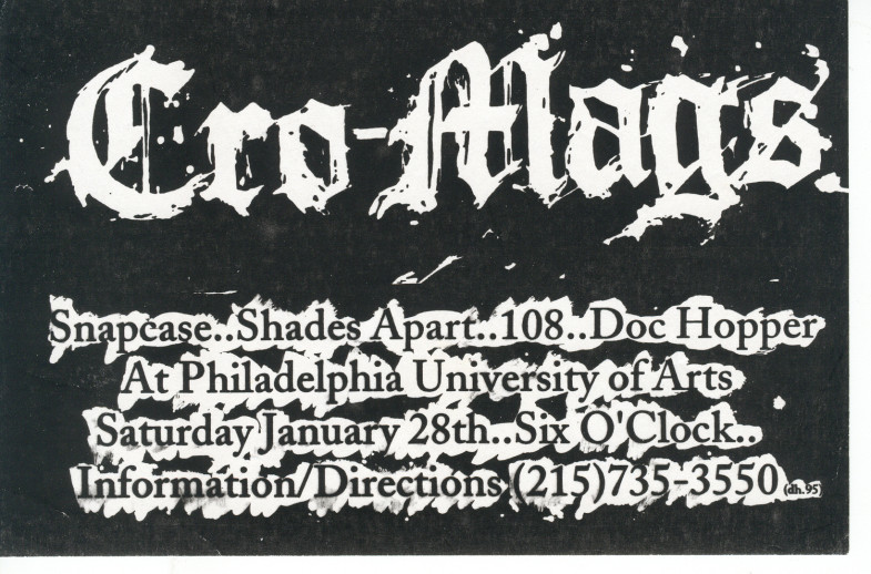 Cro Mags-Doc Hopper-Snapcase-Shades Apart-108 @ Philadelphia University Of Arts Philadelphia PA 1-28-95