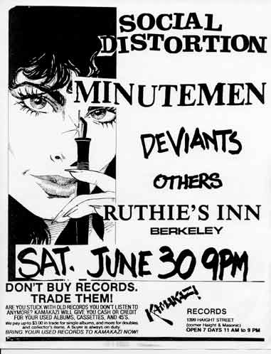 Social Distortion-Minutemen-Deviants-Others @ Ruthie's Inn Berkeley CA 6-30-84