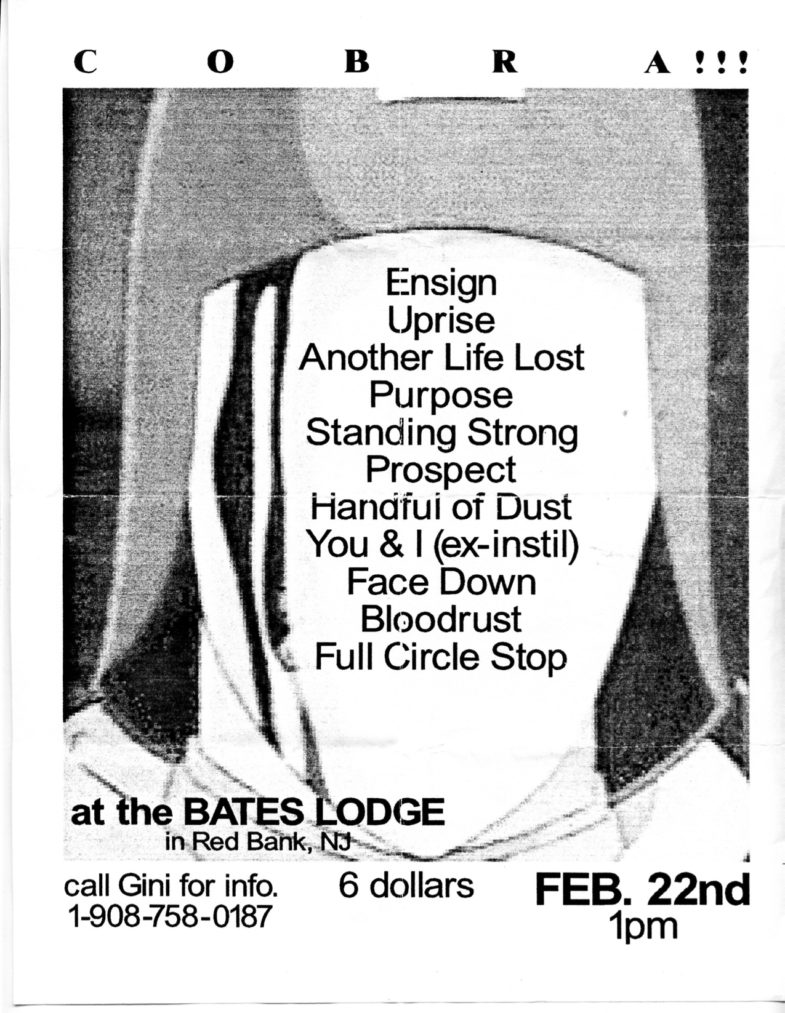 Ensign-Uprise-Another Life Lost-The Purpose-Standing Strong-Prospect-Handful Of Dust-Prospect-You & I-Face Down-Bloodrust-Full Circle Stop @ Bates Lodge Red Bank NJ 2-22-97
