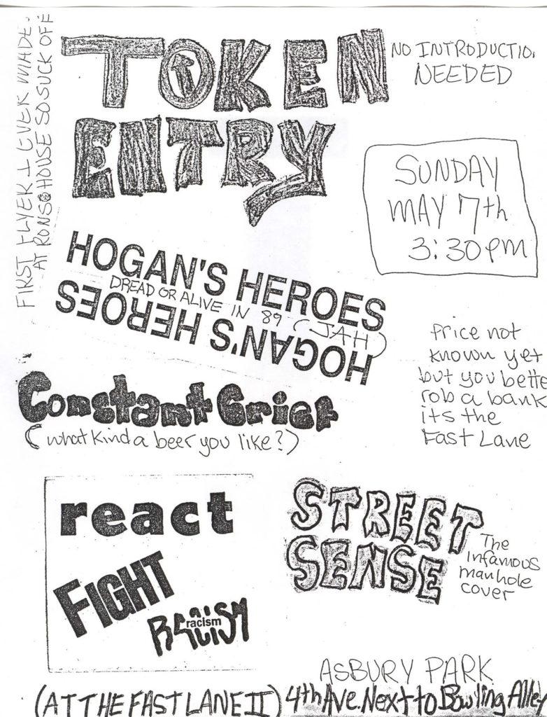 Token Entry-Hogan's Heroes-Constant Grief-React-Street Sense @ Fast Lane Asbury Park NJ 5-7-89