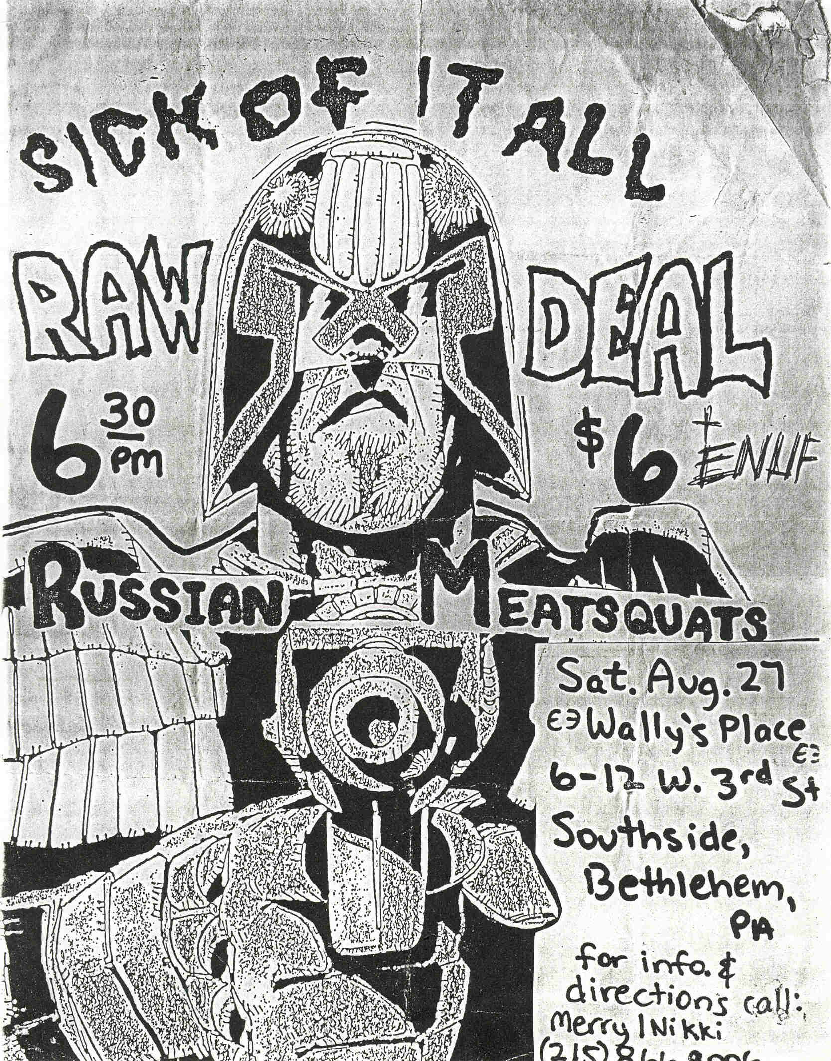Sick Of It All-Raw Deal-Enuf-Russian Meat Squats @ Wally's Place Bethlehem PA 8-27-88