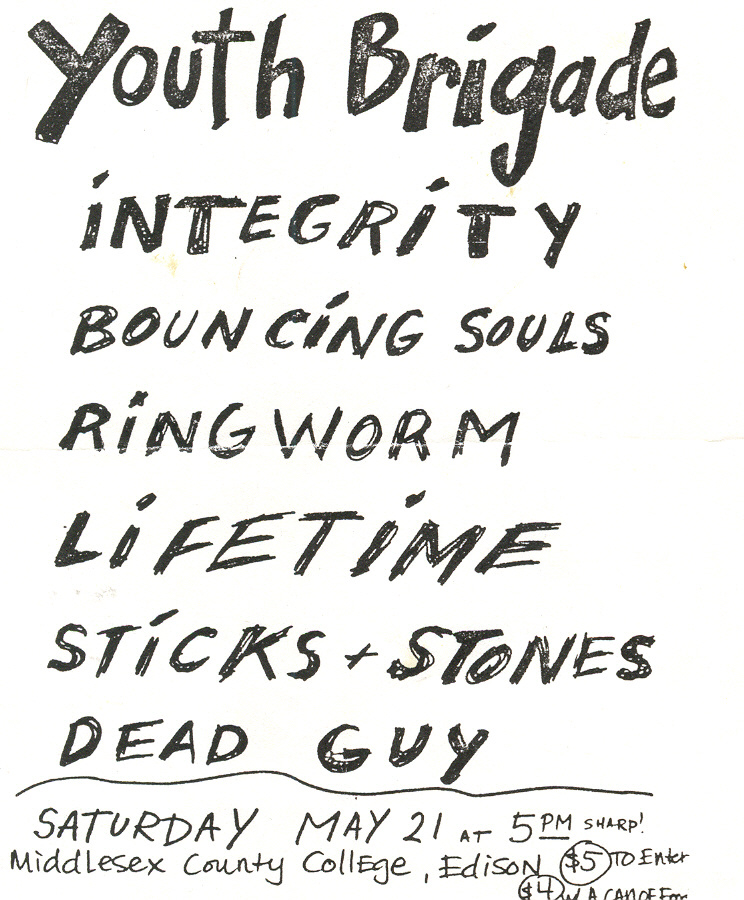 Youth Brigade-Integrity-Bouncing Souls-Ringworm-Lifetime-Sticks & Stones-Deadguy @ Middlesex County College Edison NJ 5-21-94