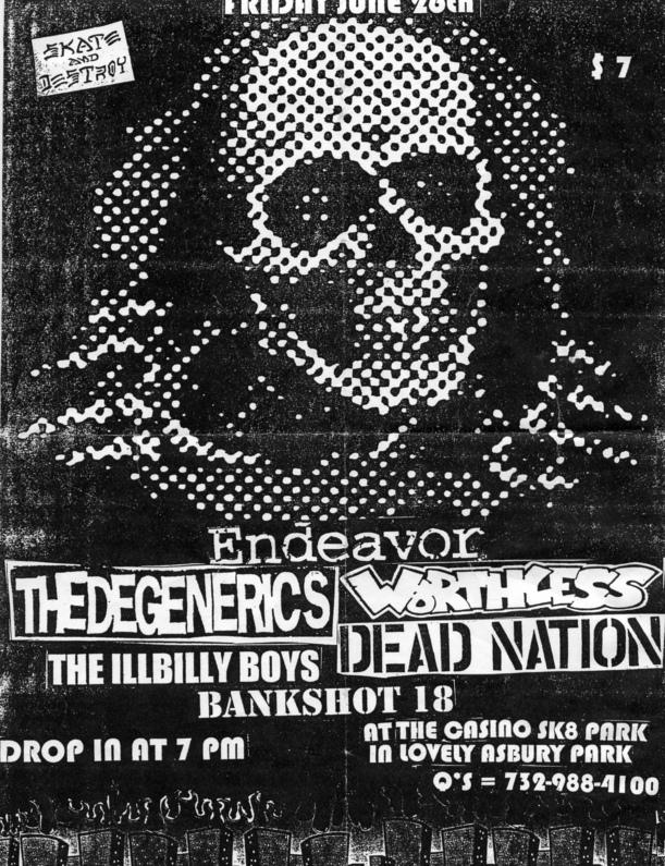 The Degenerics-Endeavor-Worthless-Dead Nation-The Illbilly Boys-Bankshot 18 @ Casino Skate Park Asbury Park NJ 6-26-98