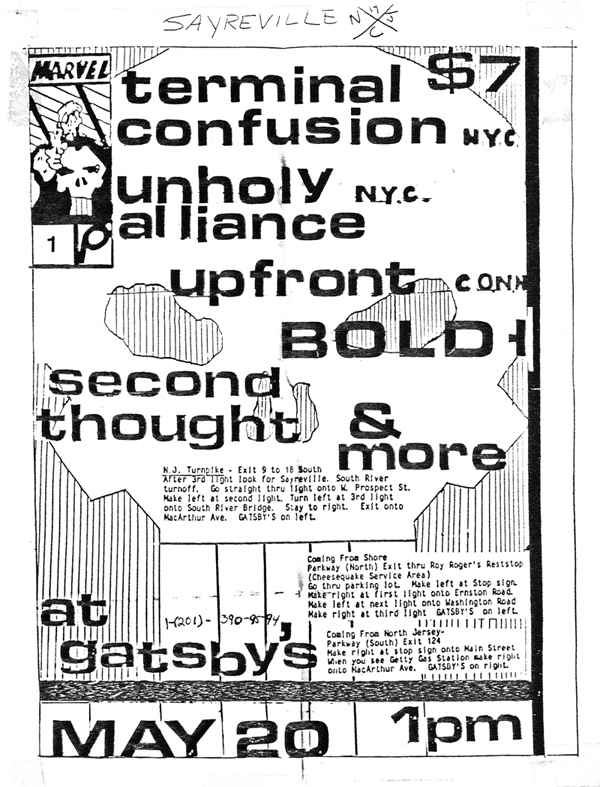 Bold-Up Front-Terminal Confusion-Unholy Alliance-Second Thought @ Gatsby's Sayerville NJ 5-20-89