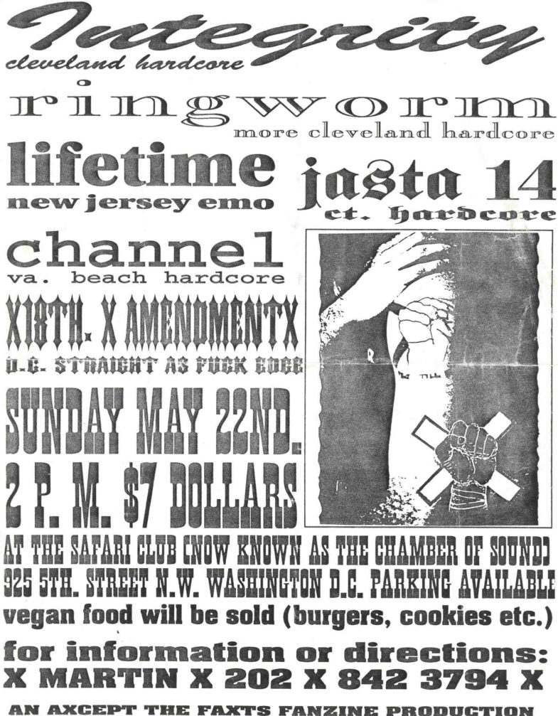 Integrity-Ringworm-Lifetime-Jasta 14-Channel-18th Amendment @ The Safari Club WDC 5-22-94
