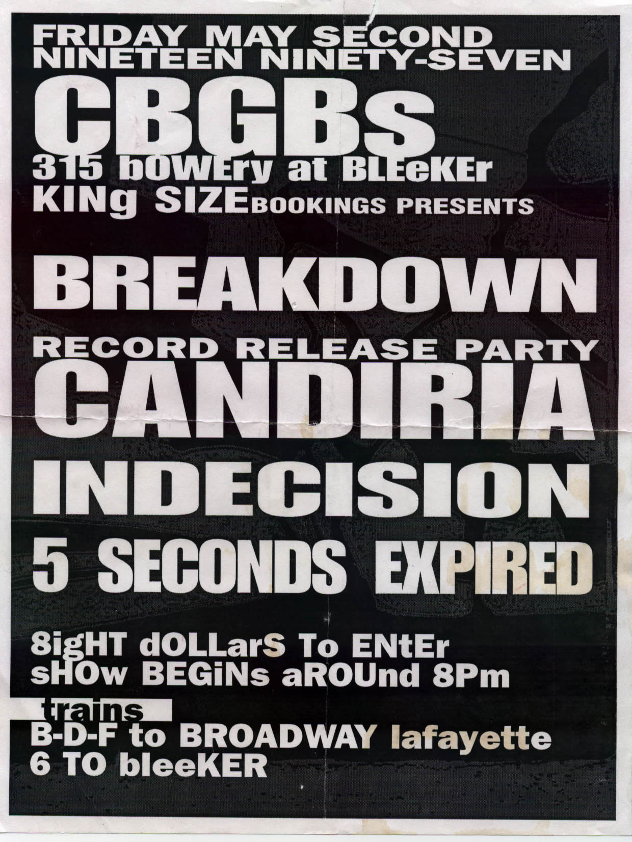 Breakdown-Candiria-Indecision-5 Seconds Expired @ CBGB New York City NY 5-29-97