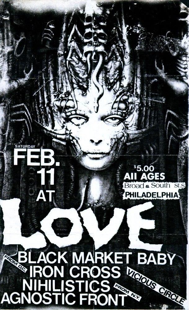 Black Market Baby-Iron Cross-Nihilistics-Vicious Circle-Agnostic Front @ Love Hall Philadelphia PA 2-11-84