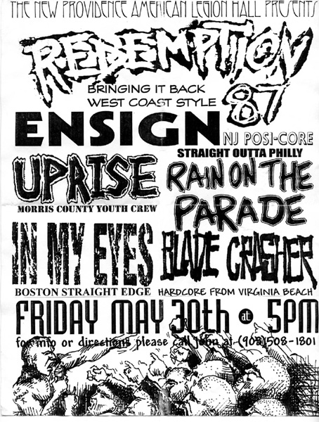 Redemption 87-Ensign-Uprise-Rain On The Parade-In My Eyes-Bladecrasher @ New Providence American Legion Hall New Providence NJ 5-30-97