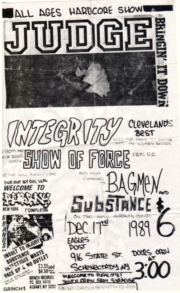 Judge-Integrity-Show Of Force-Bagmen-Substance @ Eagles Post Schenectady NY 12-17-89