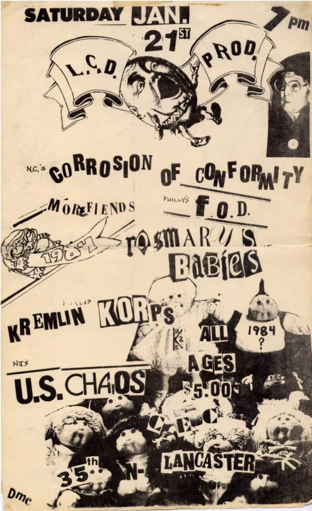 Corrosion Of Conformity-More Fiends-Flag Of Democracy-Kremlin Korps-Rosemarys Babys-US Chaos @ CEC Lancaster PA 1-21-84