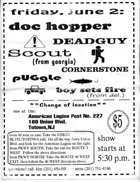 Doc Hopper-Cornerstone-Boy Sets Fire-Puggle-Deadguy-Scout @ American Legion Post No. 227 Totowa NJ 6-2-95