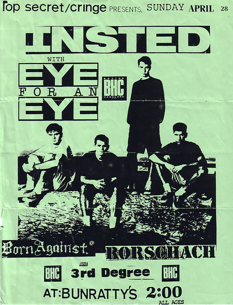 Insted-Eye For An Eye-Third Degree-Rorschach-Born Against @ Bunratty's Boston MA 4-28-91