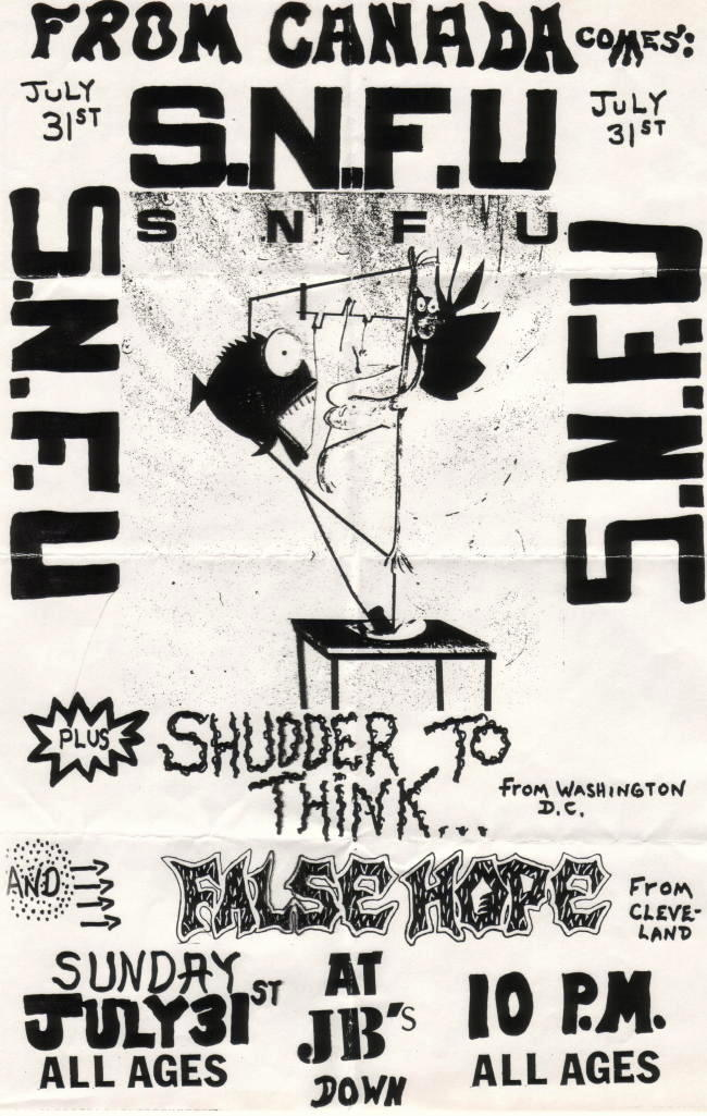 SNFU-False Hope-Shudder To Think @ JB's Kent OH 7-31-88