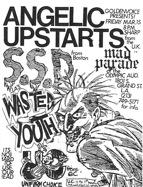 Angelic Upstarts-Society System DeControl-Mad Parade-Uniform Choice-Wasted Youth @ Olympic Auditorium Los Angeles CA 3-15-85