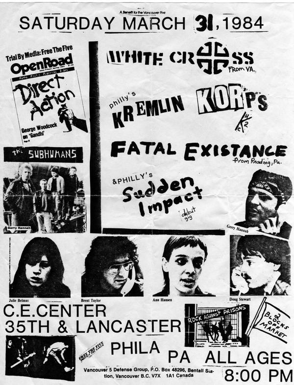 Subhumans-White Cross-Kremlin Korps-Fatal Existence-Sudden Impact @ C.E. Center Philadelphia PA 3-31-84