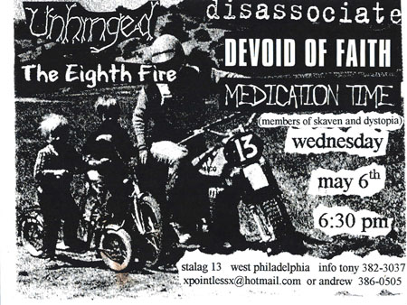 Devoid Of Faith-Disassociate-Unhinged-The Eighth Fire-Medication Time @ Stalag 13 Philadelphia PA 5-6-98