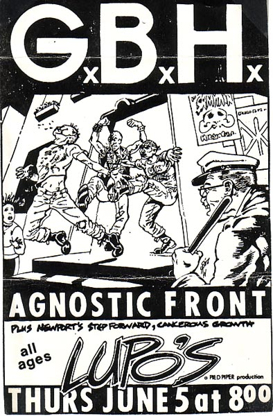 GBH-Agnostic Front-Step Forward-Cancerous Growth @ Lupo's Providence RI 6-5-86