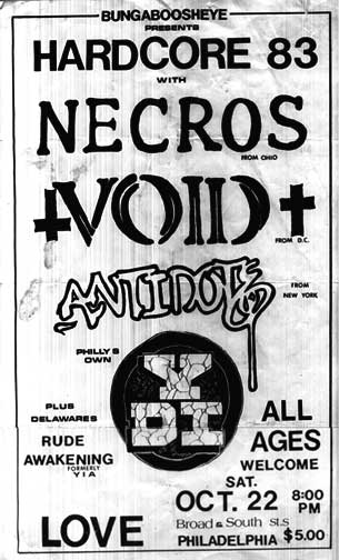 Void-Antidote-YDI-Necros-Rude Awakening @ Love Hall Philadelphia PA 10-22-83