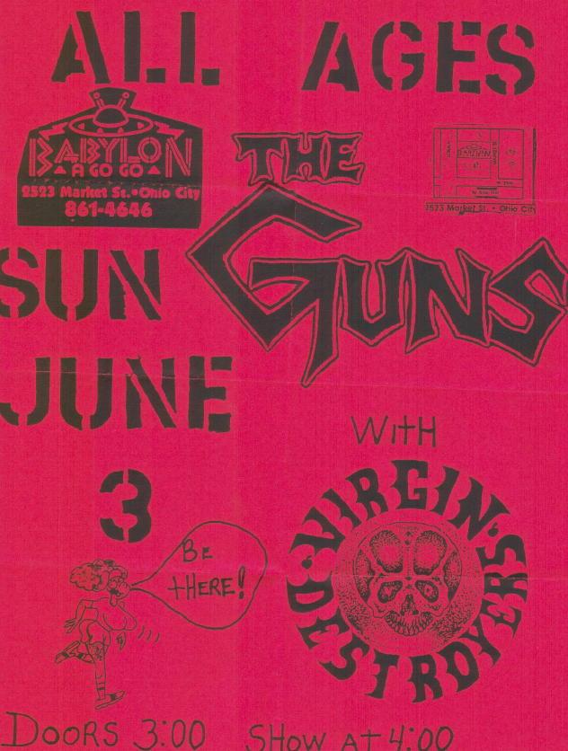 The Guns-Virgin Destroyers @ Babylon A Go Go Ohio City OH 6-3-90