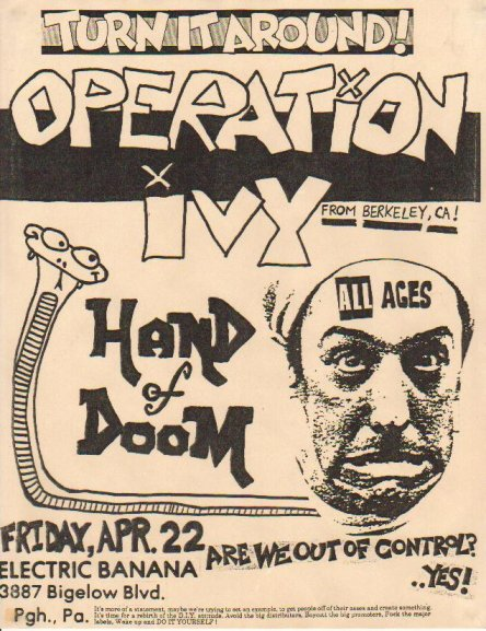 Operation Ivy-Hand Of Doom @ Electric Banana Pittsburgh PA 4-22-88
