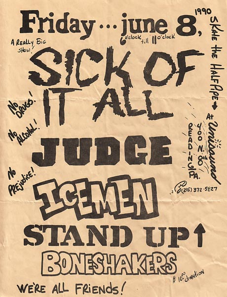 Sick Of It All-Judge-The Icemen-Stand Up-Boneshakers @ Unisound Reading PA 6-8-90