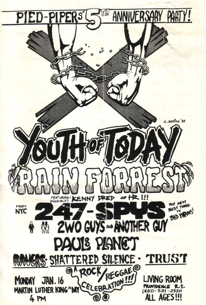 Youth Of Today-Rain Forrest-24 7 Spyz-Shattered Silence-Trust @ Living Room Providence RI 1-16-89