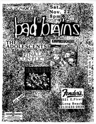 Bad Brains-Crumbsuckers-Adolescents-Final Conflict-Insted @ Fender's Ballroom Long Beach CA 11-22-86