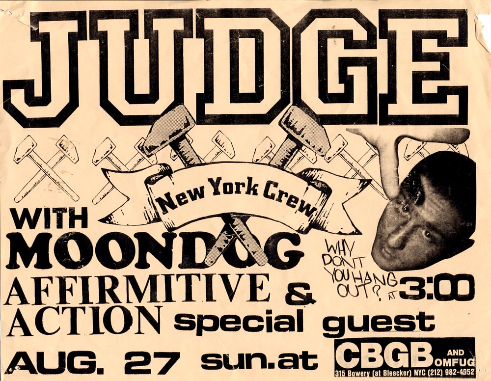 Judge-Affirmative Action-Moondog-Born Against @ CBGB New York City NY 8-27-89