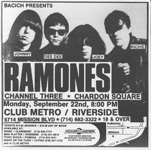 The Ramones-Channel Three-Chardon Square @ Club Metro Riverside CA 9-22-80