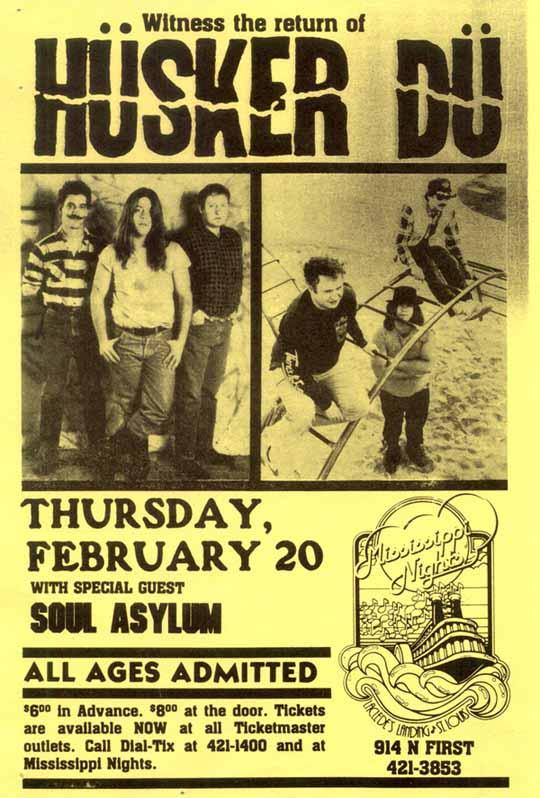 Husker Du-Soul Asylum @ Mississippi Nights St. Louis MO 2-20-86