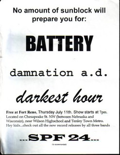 Battery-Damnation A.D.-Darkest Hour @ Fort Reno Washington DC 7-11-91