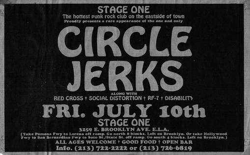 Circle Jerks-Redd Kross-Social Distortion-RF7-Disability @ Stage One Los Angeles CA 7-10-81