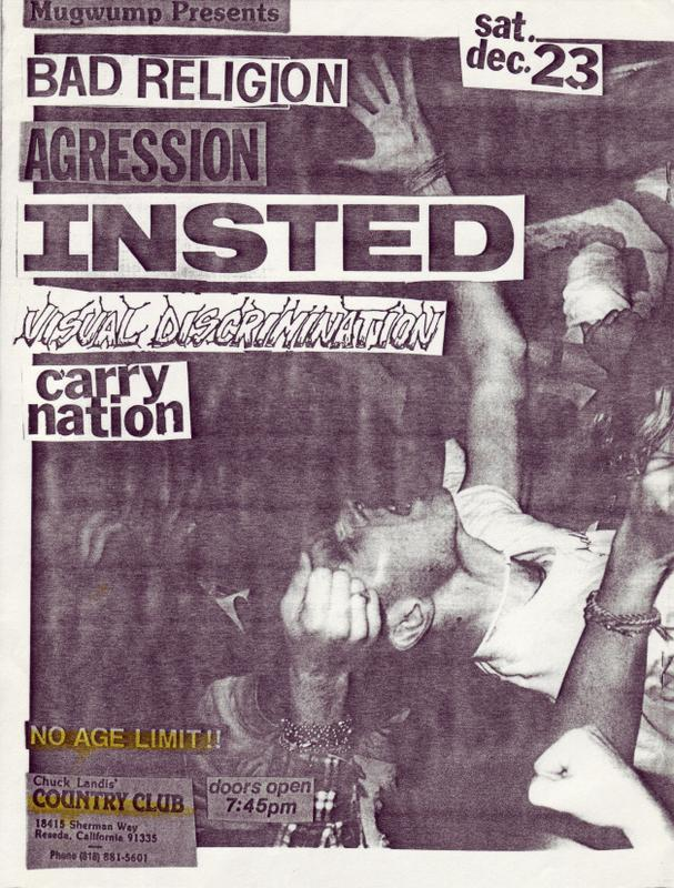 Bad Religion-Agression-Insted-Visual Discrimination-Carry Nation @ Country Club Reseda CA 12-23-89