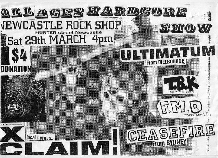 Ultimatum-Found My Direction-TDK-Ceasefire-XClaim! @ Newcastle Rock Shop Newcastle Australia 3-29-97